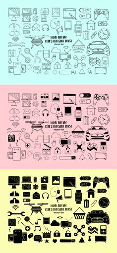 A set of 60 hand-drawn, playful illustrations all around tech and Web perfect for giving that unique touch to your next project. Pictogram, Treasure Chest, Icon Set, Design Elements, How To Draw Hands, Geek Stuff, Design Blogs, Geeks, Hand Drawn
