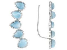 6x4mm And 6x5mm Pear Shape Blue Larimar Cabochon Sterling Silver Climber Earrings