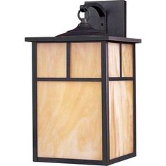 Illumine 1-Light Outdoor Burnished Wall Lantern with Honey Glass Shade-HD-MA41190150 - The Home Depot