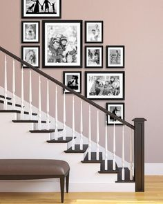 Staircase picture wall staircase, gallery wall staircase, stair photo w Staircase Wall Decor, Stairway Decorating, Stair Walls, Stair Decor, Staircase Frames, Stair Photo Walls, Small Hallway Decorating, Black Staircase, Staircase Makeover