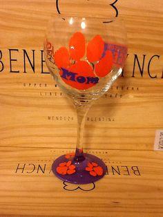 "Custom Hand Painted ""Clemson Mom"" Wine Glass on Etsy, $24.95"