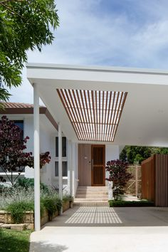 Blockout Blinds, Timber Battens, Brick Paving, Sloped Garden, Raised Planter, Outdoor Spaces, Outdoor Decor, Residential Architecture, Skylight