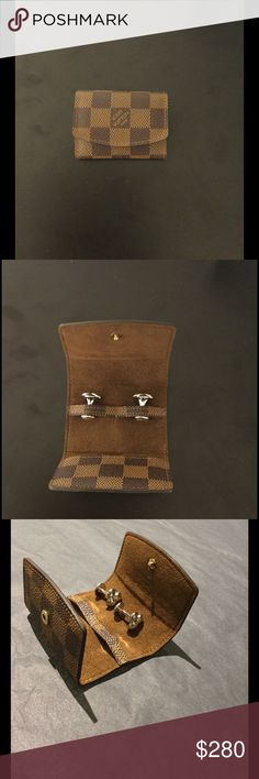 Louis Vuitton Cufflinks Brand new pair of Louis Vuitton cufflinks, never used, 100% Authentic, 10/10 condition, Comes with leather and suede Damier holder. Louis Vuitton Accessories Cuff Links
