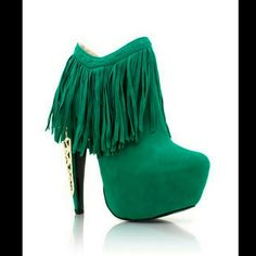 Privileged Fringe Booties Green suede booties. Fringe detailing around opening of shoe. Gold embroidered design on the heel. Curved 6 inch heel. New in box in excellent condition. NOT FROM LISTED BRAND Jeffrey Campbell Shoes Ankle Boots & Booties