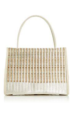 Ivory Crocodile & Silver Horse Hair Top Handle Bag - Nancy Gonzalez Resort 2016 - Preorder now on Moda Operandi