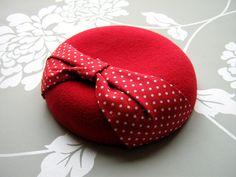 Red Felt Hat Polka Dot Bow Beret Felt Hat by LillibetsMillinery
