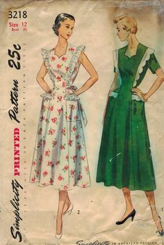 1950s Simplicity 3218 Vintage Sewing Pattern Misses Pinafore and House Dress…