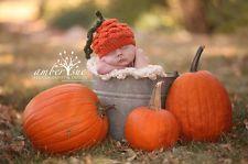 Pumpkin Halloween Fall Crochet Newborn Baby Hat Photography Prop