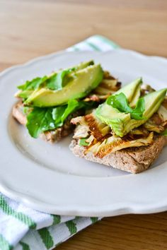 avocado and mushroom tartine