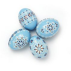 Set of 5 Blue Hand Decorated Colours Painted Chicken Easter Egg, Traditional Slavic Wax Pinhead Chicken Egg, Kraslice, Pysanka