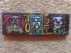 "Hear, Speak & See No Evil, 12 x 4"" canvas by AlabasterandObsidian on Etsy"