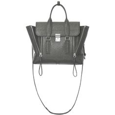 3.1 Phillip Lim Storm Pashli Medium Satchel (6,155 CNY) ❤ liked on Polyvore featuring bags, handbags, grey, purse satchel, zipper handbag, handbag satchel, grey handbags and gray handbags