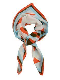 silk scarf , orange blue www.ciprian-vrabie.com