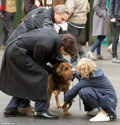 SHERLOCK (BBC) ~ Martin Freeman (John Watson), Benedict Cumberbatch (Sherlock Holmes), Amanda Abbington (Mary Watson) during Season 4 filming on April 26, 2016.