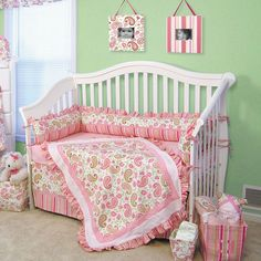 Paisley Park 4-Piece Crib Set Green and pink nursery
