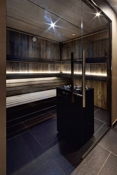 Sauna made by VSB Wellness - Modern Home Spa Room, Spa Rooms, Sauna Steam Room, Sauna Room, Modern Saunas, Sauna Design, Finnish Sauna, Spa Interior, Hotel Apartment
