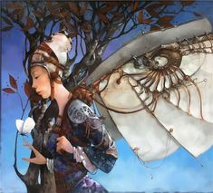 Merab Gagiladze  -  Mechanical Wings Come Fly With Me, Love Art, Wings, Princess Zelda, Culture, Artist, Anime, Painting, Fictional Characters