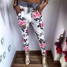 New Fashion women Sweatpants S-XL Plus Size Flower Printed Womens Harem Pants 2016 Nineth Capris Casual Trousers Fashion Pants, Fashion Clothes, Fashion Outfits, Fashion Women, Modest Fashion, Fashion Tips, Chic Outfits, Fall Outfits, Fashion Trends