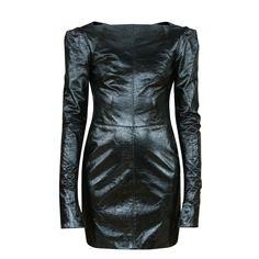 GARETH PUGH $2825 black patent leather fitted box-shoulder mini dress 36/XS NEW #GarethPugh #WigglePencil #Cocktail