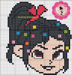 Vanellope Wreck-it Ralph perler bead pattern by Drayzinha... Could be used for rainbow loom.
