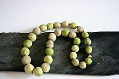 Felt necklace green necklace Felted beads от OurPrettyUniverse