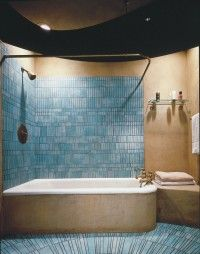 Bathroom Design Idea: High Art - Mixing traditional fixtures with an artistic modern tile scheme can make the most of a transitional bathroom design. Aqua Bathroom, Brown Bathroom, Bathroom Ideas, Bathroom Color Schemes, Roomspiration, High Art, House Rooms, Bathtub, House Design