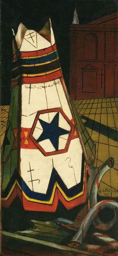 Giorgio de Chirico, Les jouets du prince, 1915. Huile sur toile, 55,5 x 25,9 cm.