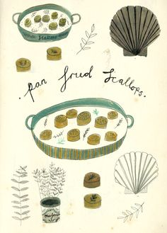 pan fried scallops illustration. food art by Kat Frank