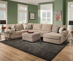 Cecelia Sectional Sofa 52305Features :Made in USALoose Seat CushionTight Back Cushion�Wood FrameAccent Pillows Included�Dimension :Section Sofa:�92