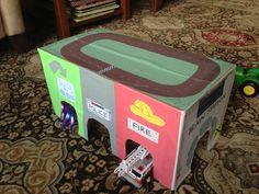 Cardboard box toy car village.