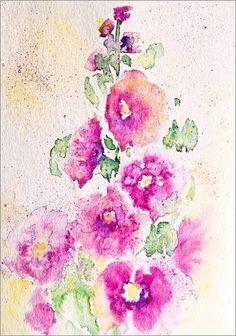 """Leinwandbild 50 x 70 cm - """"Rosa Stockrosen"""" von Andrea Fettweis - auch in anderen Größen und als Poster erhältlich von POSTERLOUNGE, http://www.amazon.de/dp/B00AGT63EC/ref=cm_sw_r_pi_dp_OuSwrb1P53R9R"""