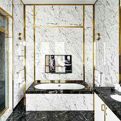 """Love it  #interior #interiordesign #design #decor #home #bath #bathtub #bathroom #bathroominterior #spa #tub #luxury #luxuryinterior #marble #black #white…"""