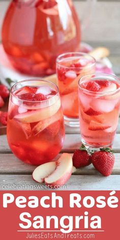 This White Peach Rosé Sangria is a beautiful summer sangria made of Rosé, peach juice, peach liqueur, fresh white peaches, and berries. Try this Peach Sangria this summer! via Julie Evink Sangria Drink, Rose Sangria, White Peach Sangria, White Wine Sangria, Sangria Party, Skinny Sangria, Mango Sangria, Champagne Sangria, Mason Jar Cocktails