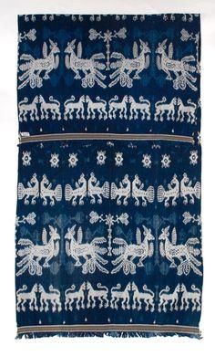 A rare and wonderful indigo ikat hingii, men's shoulder cloth from Sumba, Indonesia.