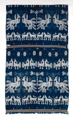 A rare and wonderful indigo ikat hingii, men's shoulder cloth from Sumba, Indonesia.