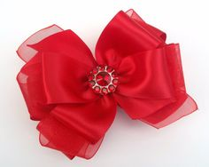 Red Satin Boutique Hair Bow   Rhinestone by JustinesBoutiqueBows