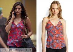 Elena Gilbert (Nina Dobrev) wears this floral-print silk cami in the episode 6x01 of The Vampire Diaries. It is the Rory Beca Scala Tank.