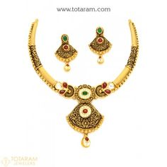 22K Gold Antique Necklace & Drop Earrings Set With Fancy Stones - 235-GS2949 - Buy this Latest Indian Gold Jewelry Design in 41.800 Grams for a low price of  $2,218.60