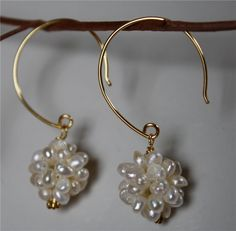 Pearl cluster earrings.  Great for brides!