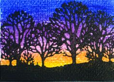 Oil Pastel Sunset Behind Black Trees by BeadsByCelleste