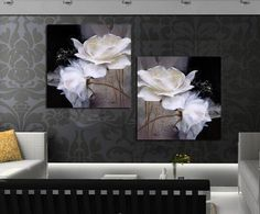 Popular 2 Piece drawing by numbers Modern Painting on wall white Flowers Home Decor Art Picture Paint on Canvas Prints poster