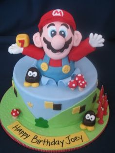 Super mario cake - I like the popping out of the cake... would be cute for different types of cakes