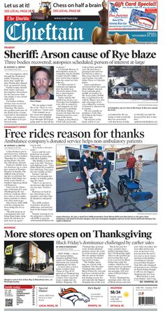 Friday, November 29, 2013 Chieftain Front page