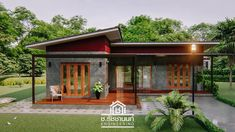 Lovely bungalow with two bedrooms and a roof deck - House And Decors Loft House Design, Bungalow Haus Design, Modern Bungalow House, Small House Design, Modern House Design, Unique Small House Plans, Thai House, Asian House, Home Modern