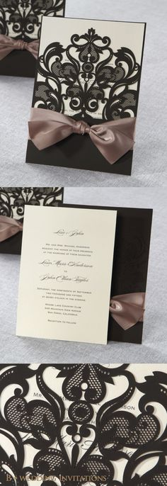 Elegant Laser Cut Half Pocket with a Bow by B Wedding Invitations
