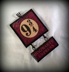This is a handmade Harry Potter inspired Hogwarts Express Platform 9 pendant, ready to hang on your favorite chain, cord or ribbon. This pendant is made of polymer clay and measures x 1 not including handmade wire wrapped bail. Harry Potter Christmas Decorations, Harry Potter Ornaments, Harry Potter Christmas Tree, Harry Potter Halloween, Décoration Harry Potter, Harry Potter Nursery, Harry Potter Charms, Harry Potter Outfits, Harry Potter Bricolage