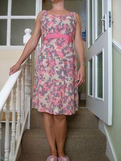 Monsoon Fashion Designer Tea Dress Celebrities Size12 UK Pink /  Grey Cotton