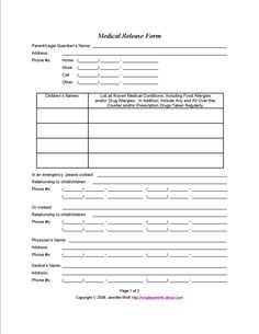Good 4 Free Printable Forms For Single Parents Regarding Printable Medical Release Form For Children