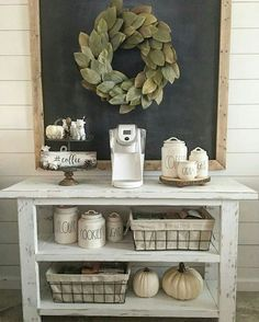 Farmhouse coffee bar, White Island, portrait chalkboard for the wall, with wreath, Neutral, wire baskets, timeless #ad #chalkboard #kitchen #blackandwhite #ad