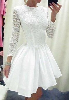 Long Sleeves Princess White LaceTaffeta Skirt Short Wedding Dress High Neck See Through Back Above Knee Length Bridal Wedding Gowns